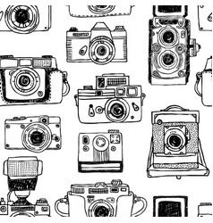 seamless pattern with old fashioned cameras vector image