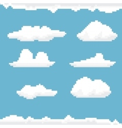 Sky with clouds pixel art background vector