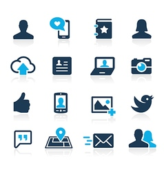 Social Icons Azure vector image