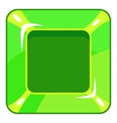 Square green button icon cartoon style vector