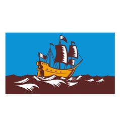 Tall Sailing Ship Retro Woodcut vector image vector image