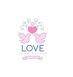 Wedding line logo with love doves heart and vector