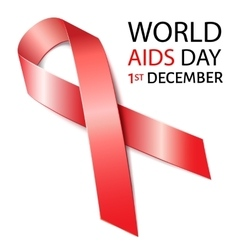 World Aids Day background with red ribbon of aids vector image