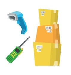 Cardboard boxes barcode scanner and radio set vector