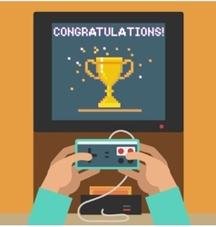Monitor screen with congratulations retro video vector