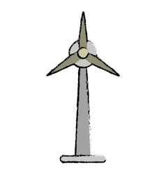 Drawn ecology wind turbine electricity generator vector