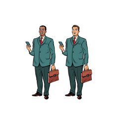 two fat businessmen african american and caucasian vector image