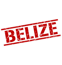 Belize red square stamp vector