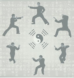 Six men engaged in kung fu vector