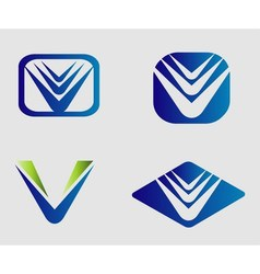 V logo set vector