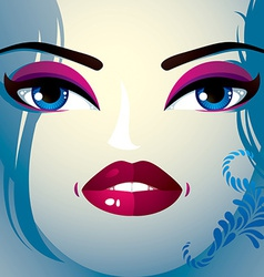 Attractive woman with stylish bright make-up and vector