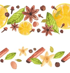 Seamless watercolor pattern with different spices vector