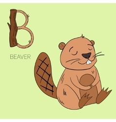 Alphabet letter b beaver children vector