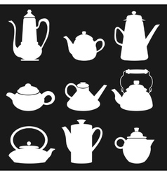Tea coffee icon black silhouette kettle diferent vector