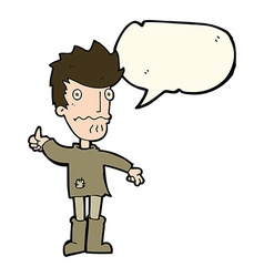 Cartoon worried man giving thumbs up symbol with vector