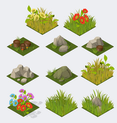 Set of isometric landscape tiles vector