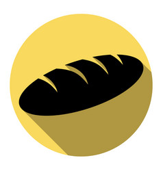 Bread sign flat black icon with flat vector