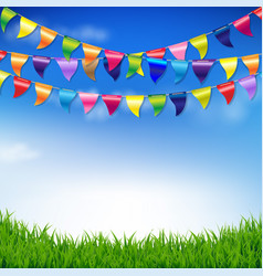 Bunting birthday flags with sky and grass border vector