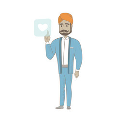 Businessman pressing web button with heart vector