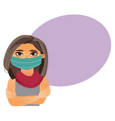cartoon girl woman wearing medical mask vector image