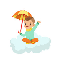 cute little boy sitting on cloud under umbrella vector image vector image