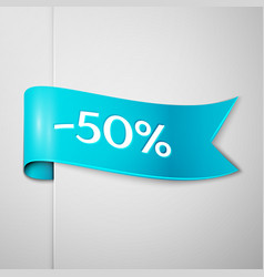 Cyan ribbon with text fifty percent for discount vector