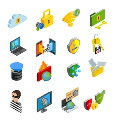 Data Protection Isometric Icons Set vector image vector image