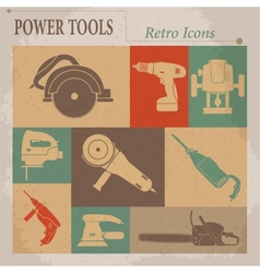 Electric tool flat retro icons vector