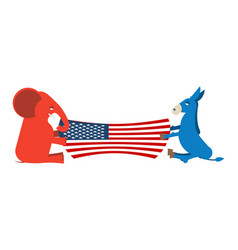 Elephant and donkey divide usa flag political vector