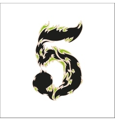 Fiery font black and green number 5 on white vector