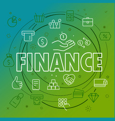 finance concept different thin line icons included vector image vector image