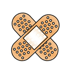 First aid band plaster medical of cross type icon vector