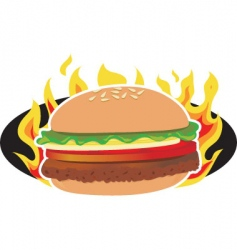 flaming hamburger vector image