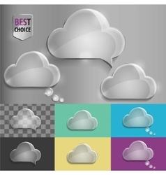 Glass speech bubble cloud icons with soft shadow vector image vector image