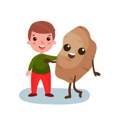 happy little boy hugging giant potato vegetable vector image vector image