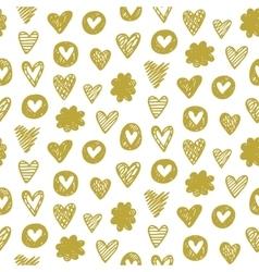 Heart pattern in golden color vector