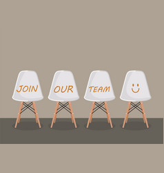 join our team texts on the chairs vector image vector image