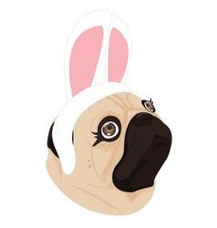 Lady dog rabbit on white background vector
