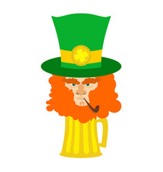 Leprechaun with red beard and beer st patricks vector
