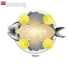Masqouf or traditional iraqi grilling carp fish vector