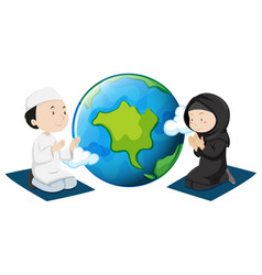 Muslim people praying around the world vector