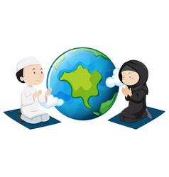Muslim people praying around the world vector