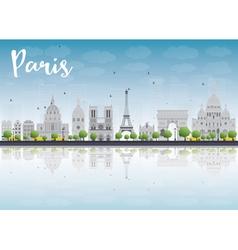 Paris skyline with grey landmarks vector image vector image