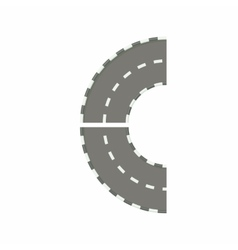 Part of circle road turn icon cartoon style vector