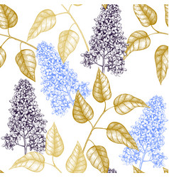 Pattern with lilac tree sketch vector