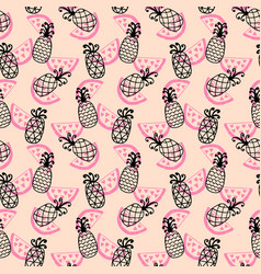 pineapples seamless pattern on coral vector image