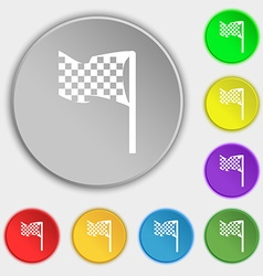 Racing flag icon sign symbol on eight flat buttons vector