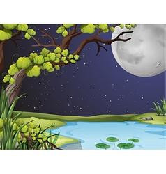 River scene on fullmoon night vector
