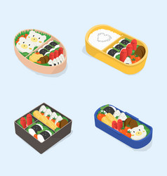Set of different bento japanese lunch boxes vector