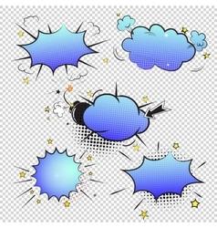 Set of pop art comic bubbles on transparent vector image